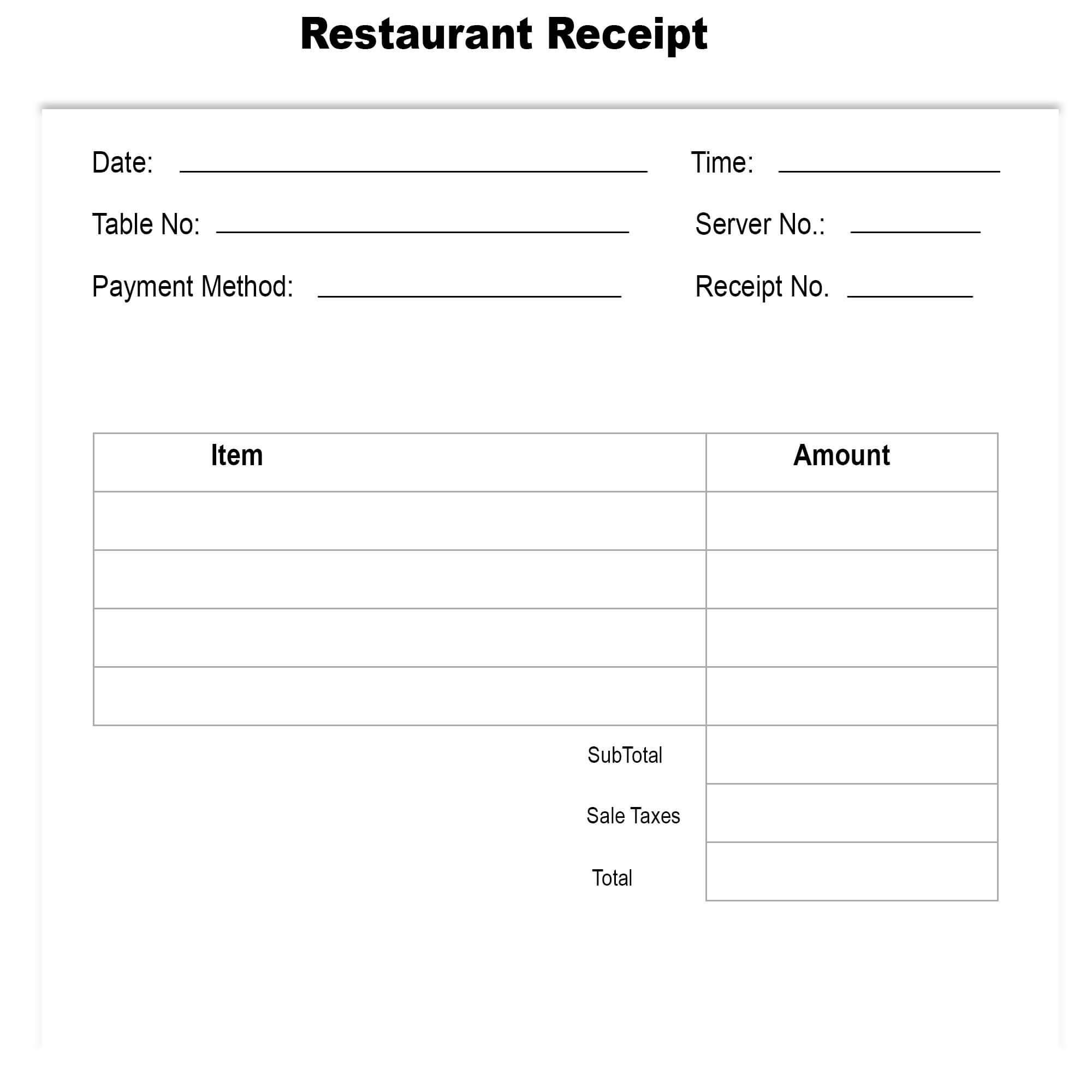 Restaurant Receipt Template Excel   The Receipt Template For Blank Taxi Receipt Template