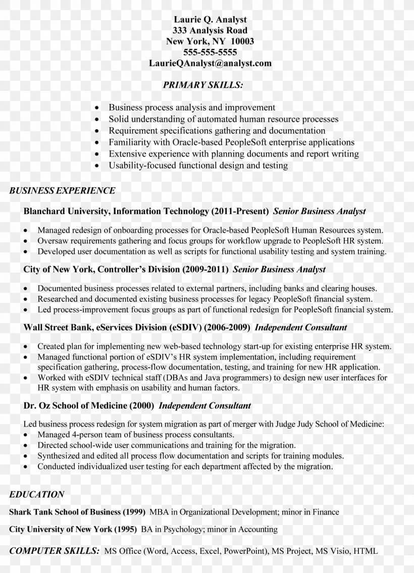 Résumé Job Description Cover Letter Template, Png For Business Analyst Report Template