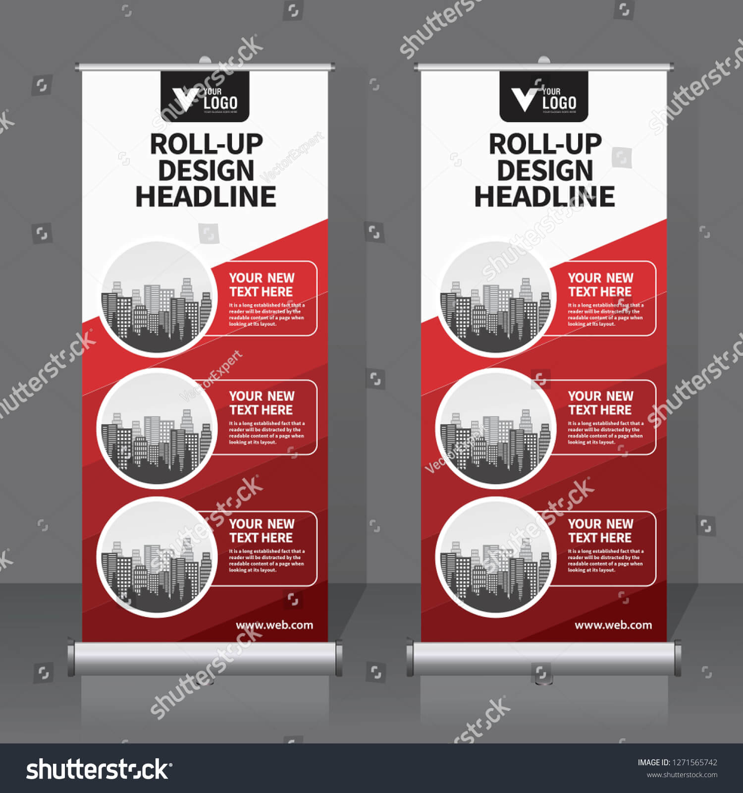 Roll Banner Design Template Vertical Abstract Stock Vector Within Retractable Banner Design Templates