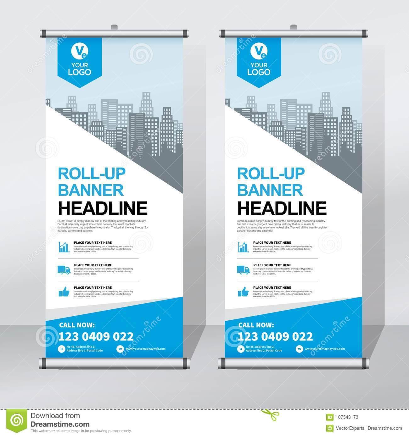 Roll Up Banner Design Template, Vertical, Abstract Throughout Pop Up Banner Design Template