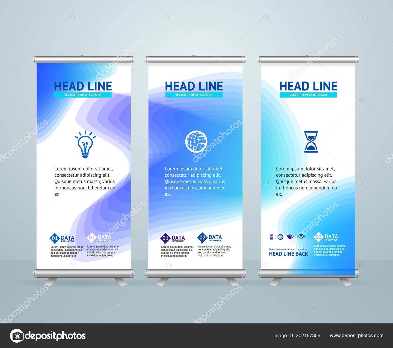 Roll Up Banner Stand Design Template. Vector — Stock Vector Within Banner Stand Design Templates