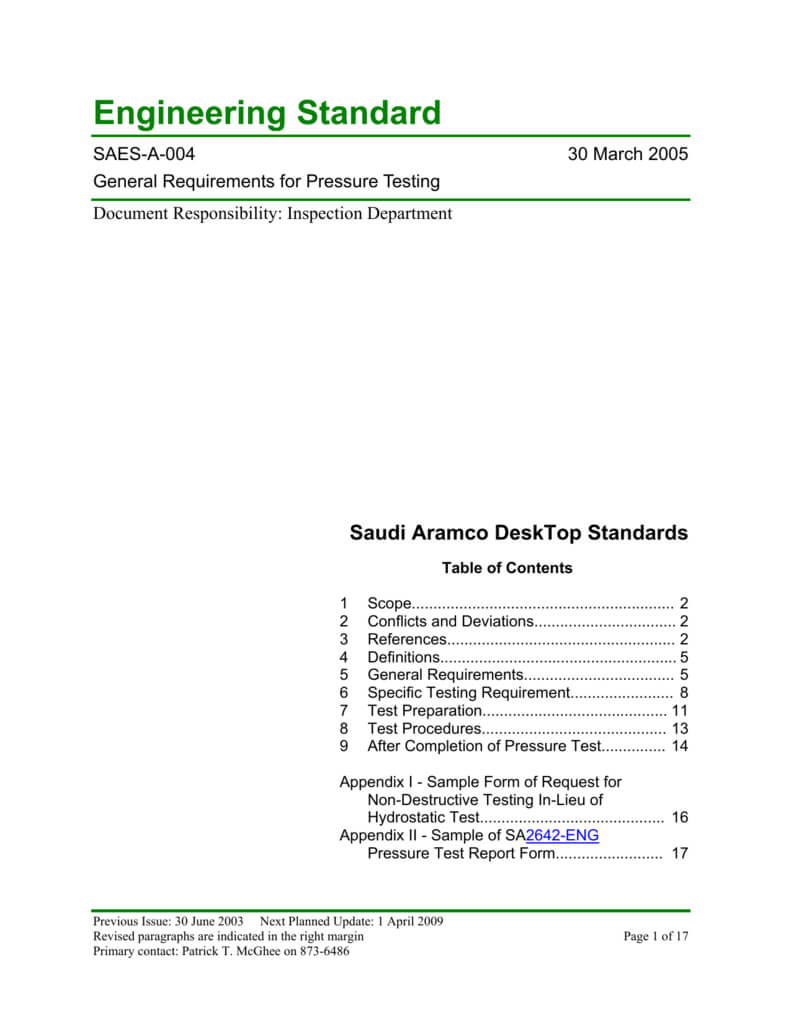 Saudi Aramco Engineering Standard Regarding Hydrostatic Pressure Test Report Template
