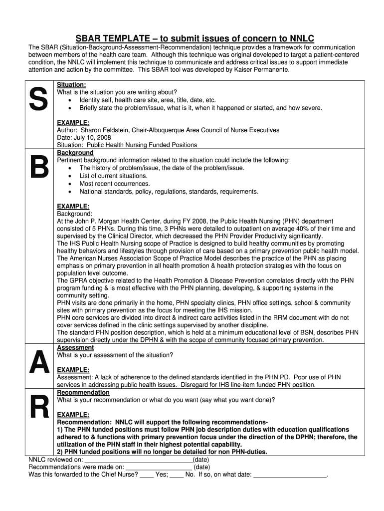Sbar Template - Fill Online, Printable, Fillable, Blank In Sbar Template Word