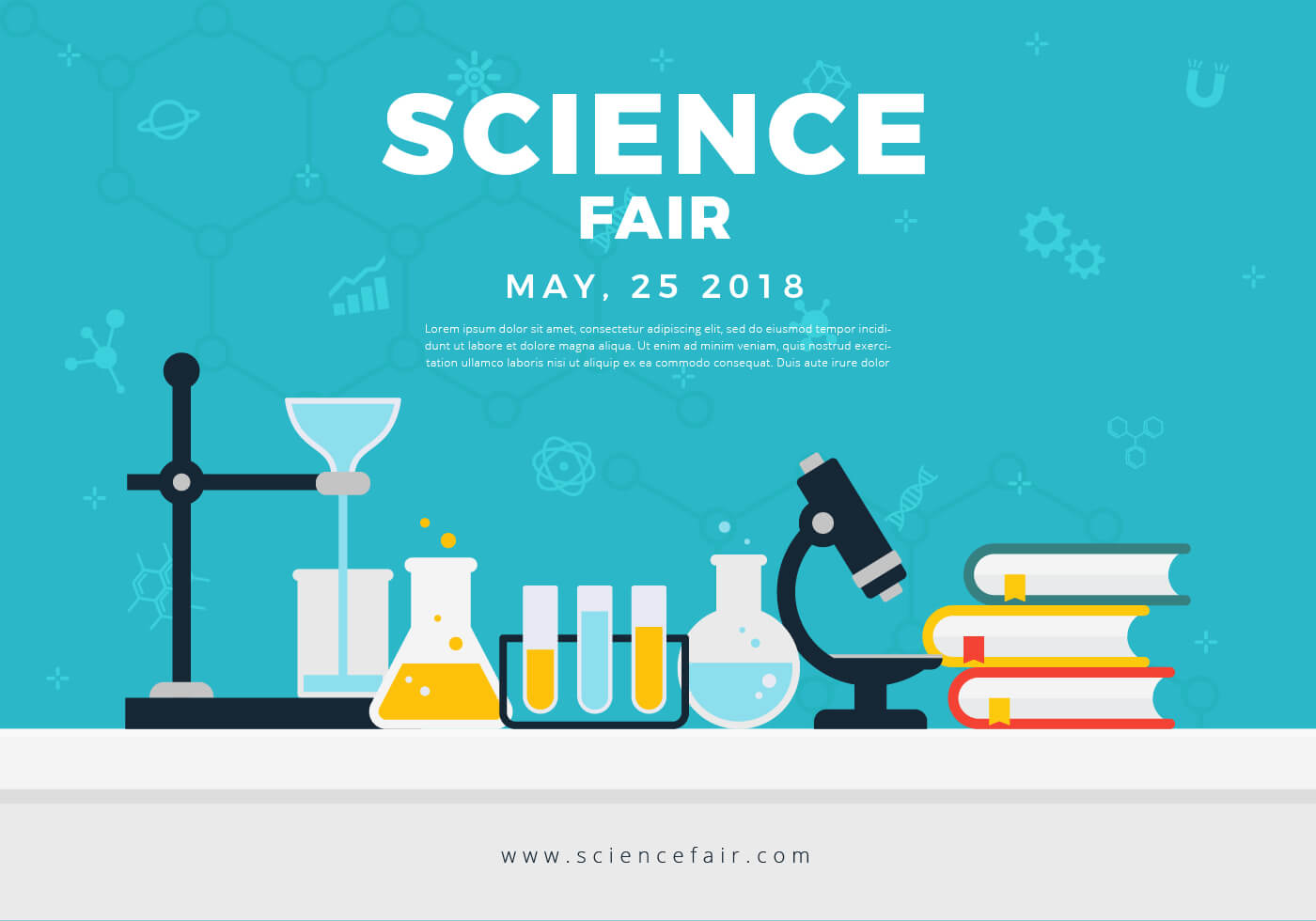 Science Fair Poster Banner - Download Free Vectors, Clipart Intended For Science Fair Banner Template