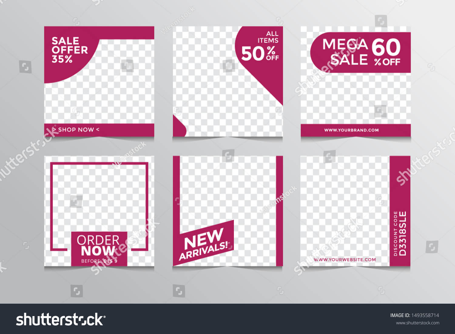 Set Modern Square Editable Banner Templatesuitable Stock Intended For College Banner Template