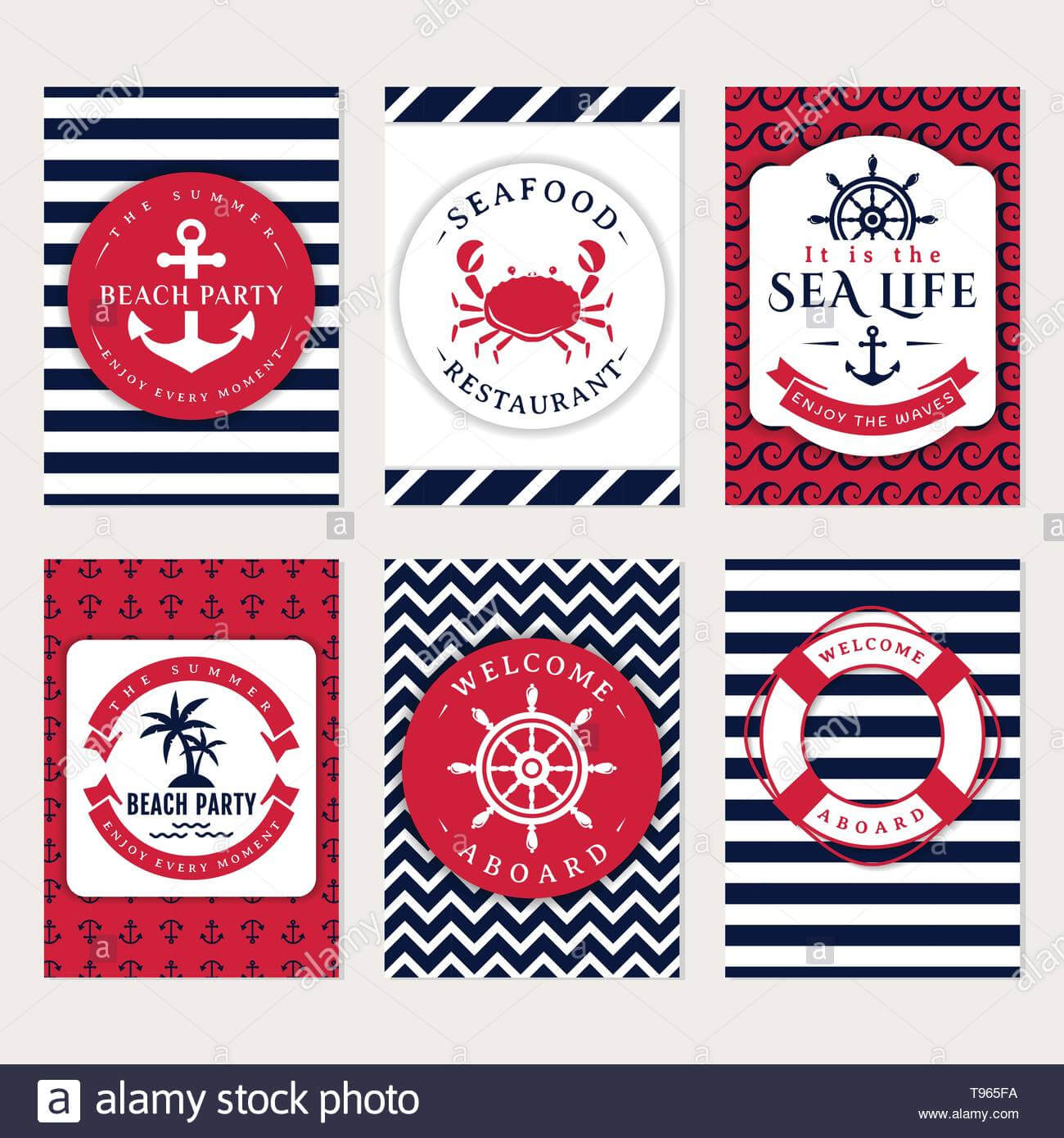 Set Of Nautical And Marine Banners And Flyers. Elegant Card Within Nautical Banner Template