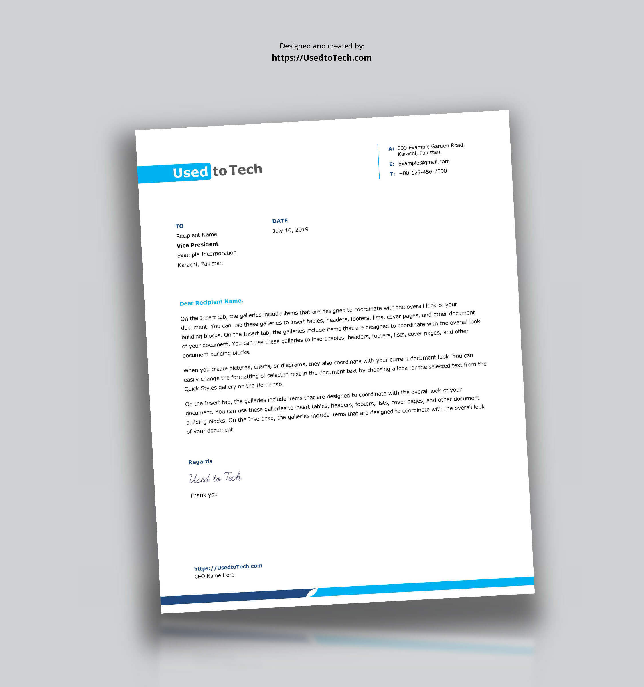 Simple And Clean Word Letterhead Template - Free - Used To Tech With Word Stationery Template Free