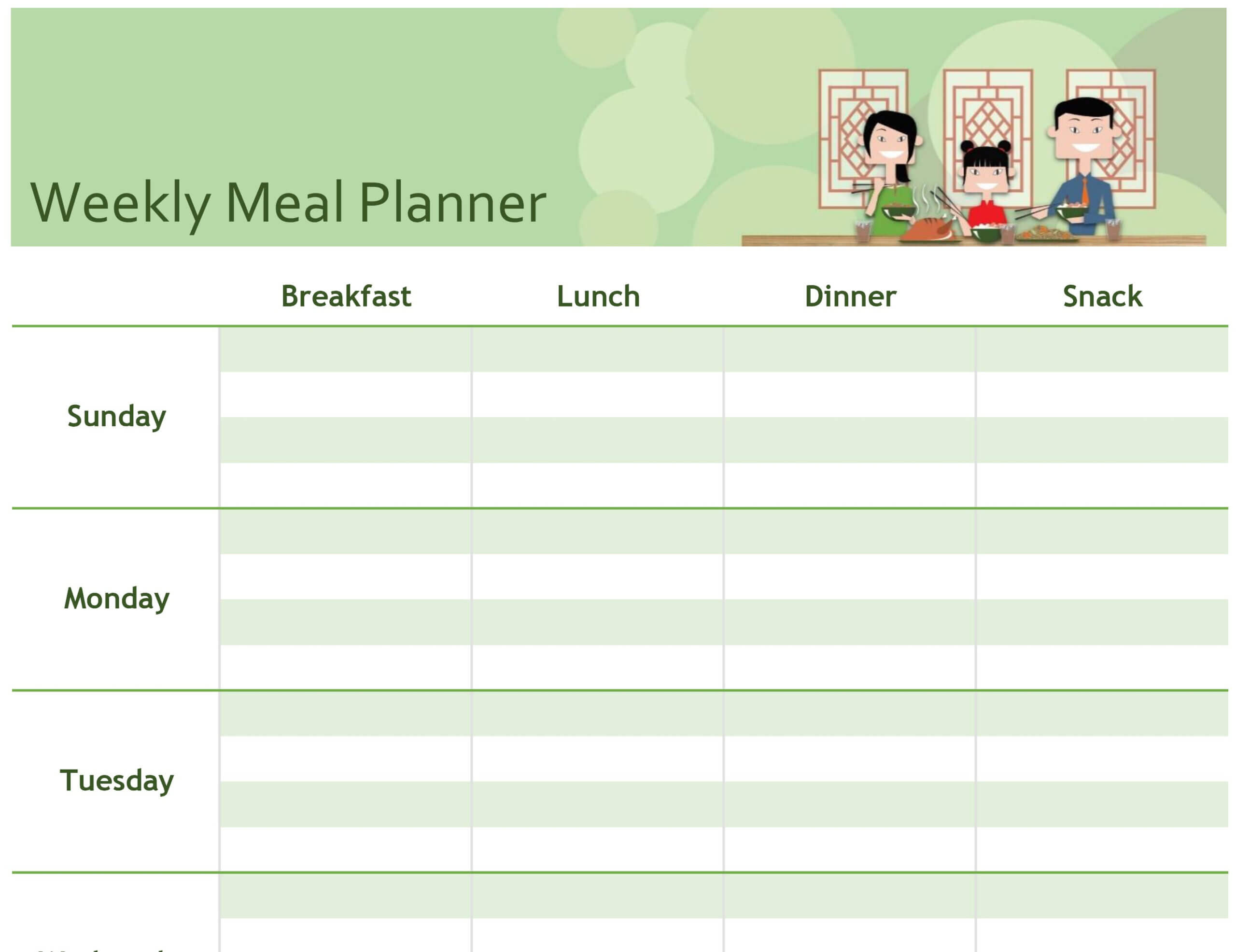 Simple Meal Planner Pertaining To Menu Planning Template Word