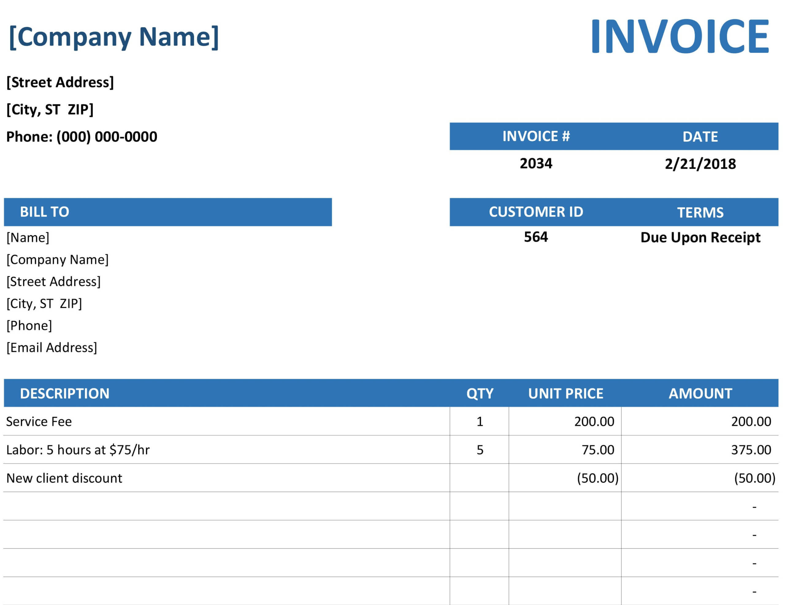 Simple Service Invoice Throughout Microsoft Office Word Invoice Template