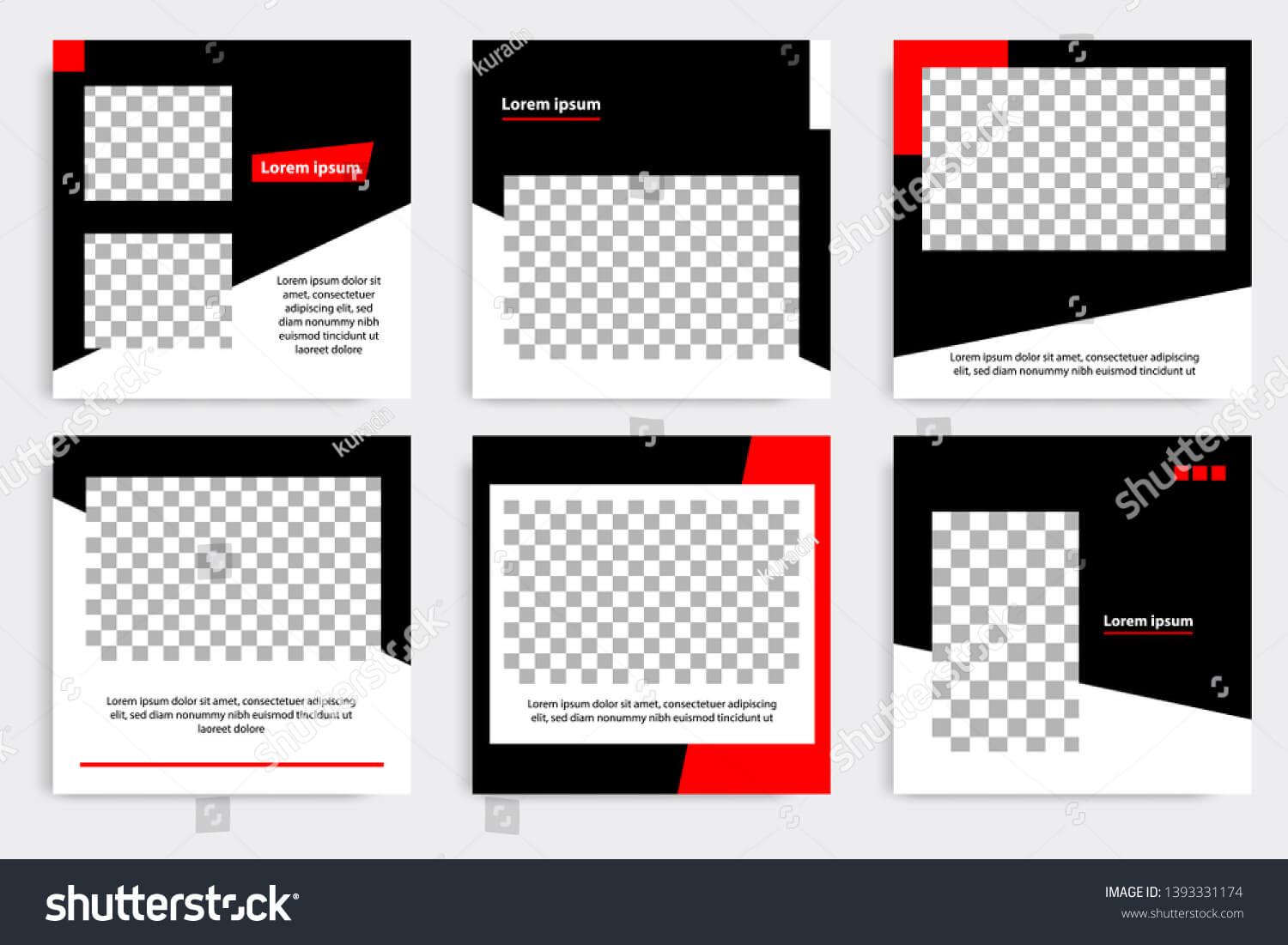Six Set Editable Minimal Square Banner Stock Vector (Royalty In College Banner Template