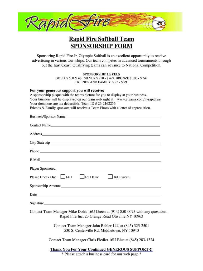Softball Sponsorship Form – Fill Online, Printable, Fillable For Blank Sponsor Form Template Free