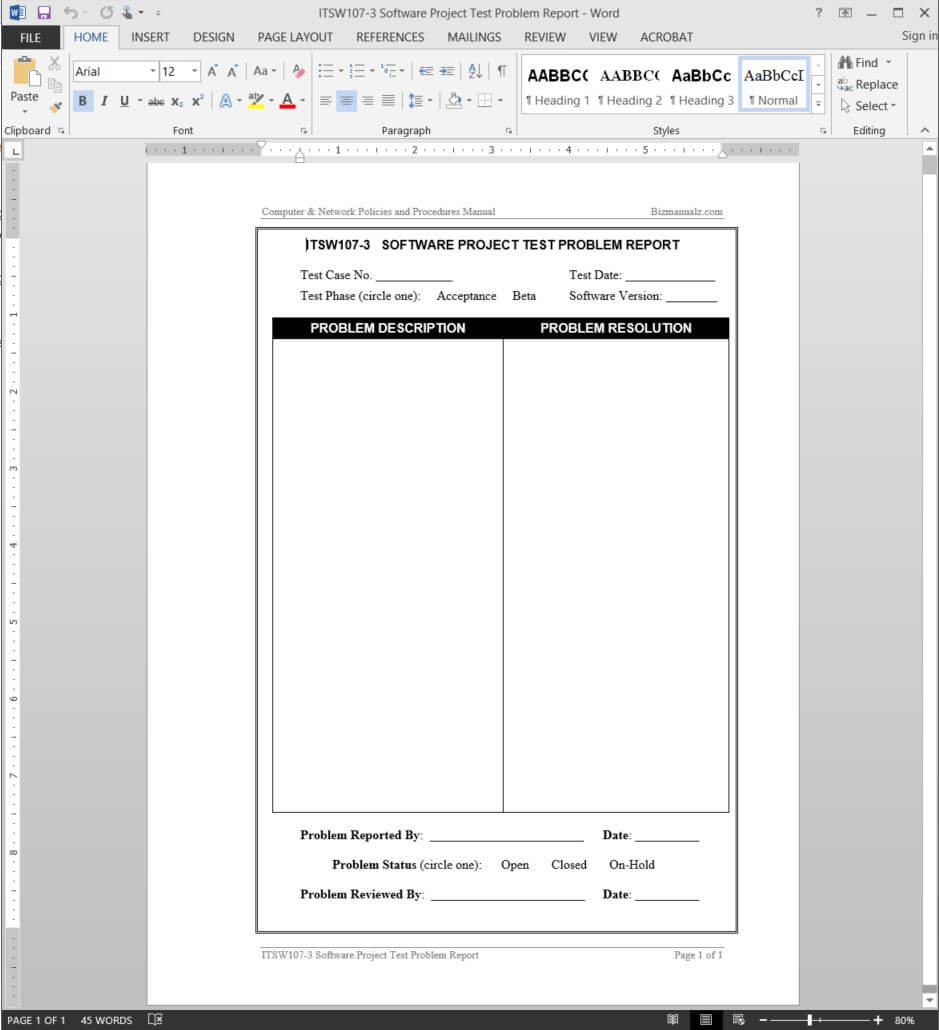 Software Project Test Problem Report Template | Itsw107 3 Throughout Software Problem Report Template