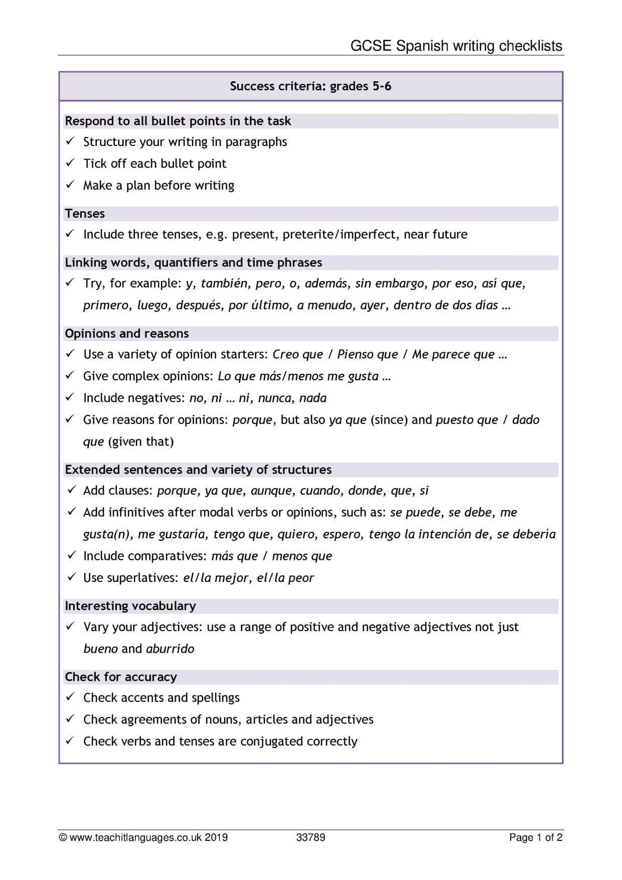 Spanish Language Teaching Resources – Teachit Languages With Regard To Book Report Template In Spanish