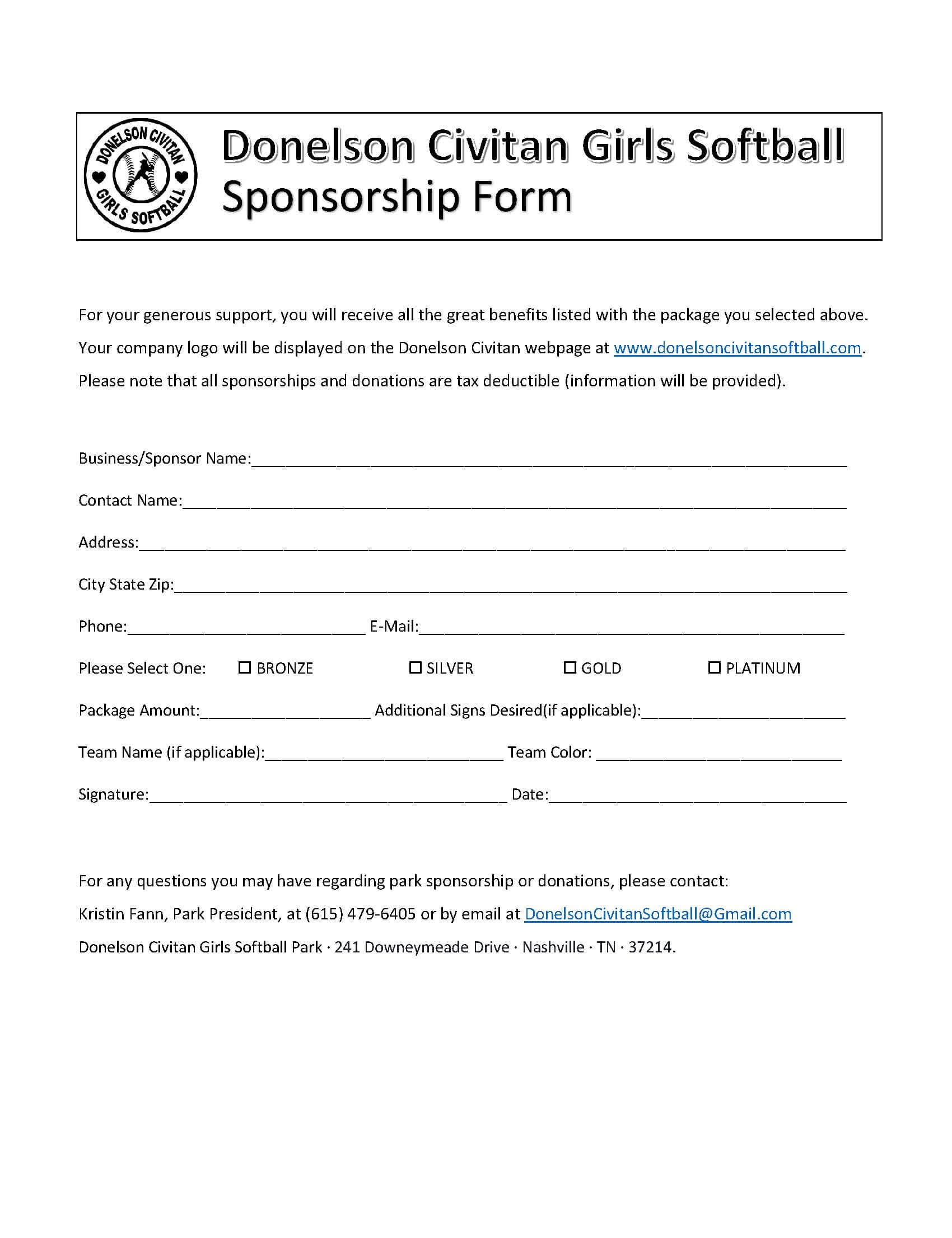 Sponsor Forms Templates Free ] – Template Sponsorship Form Inside Blank Sponsor Form Template Free