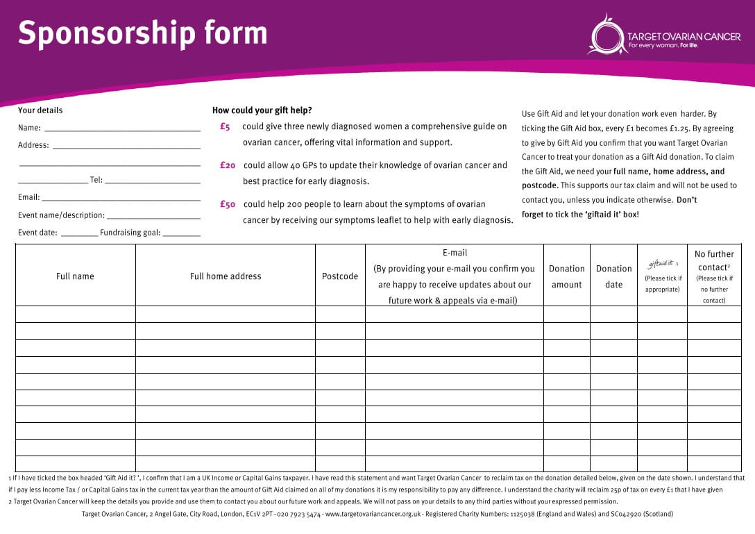 Sponsorship Sheet Template. While We 39 Re Livin In A Box We With Regard To Blank Sponsor Form Template Free