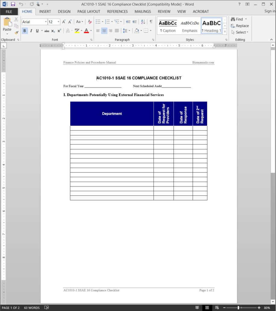 Ssae 16 Compliance Checklist Template | Ac1010 1 Pertaining To Ssae 16 Report Template