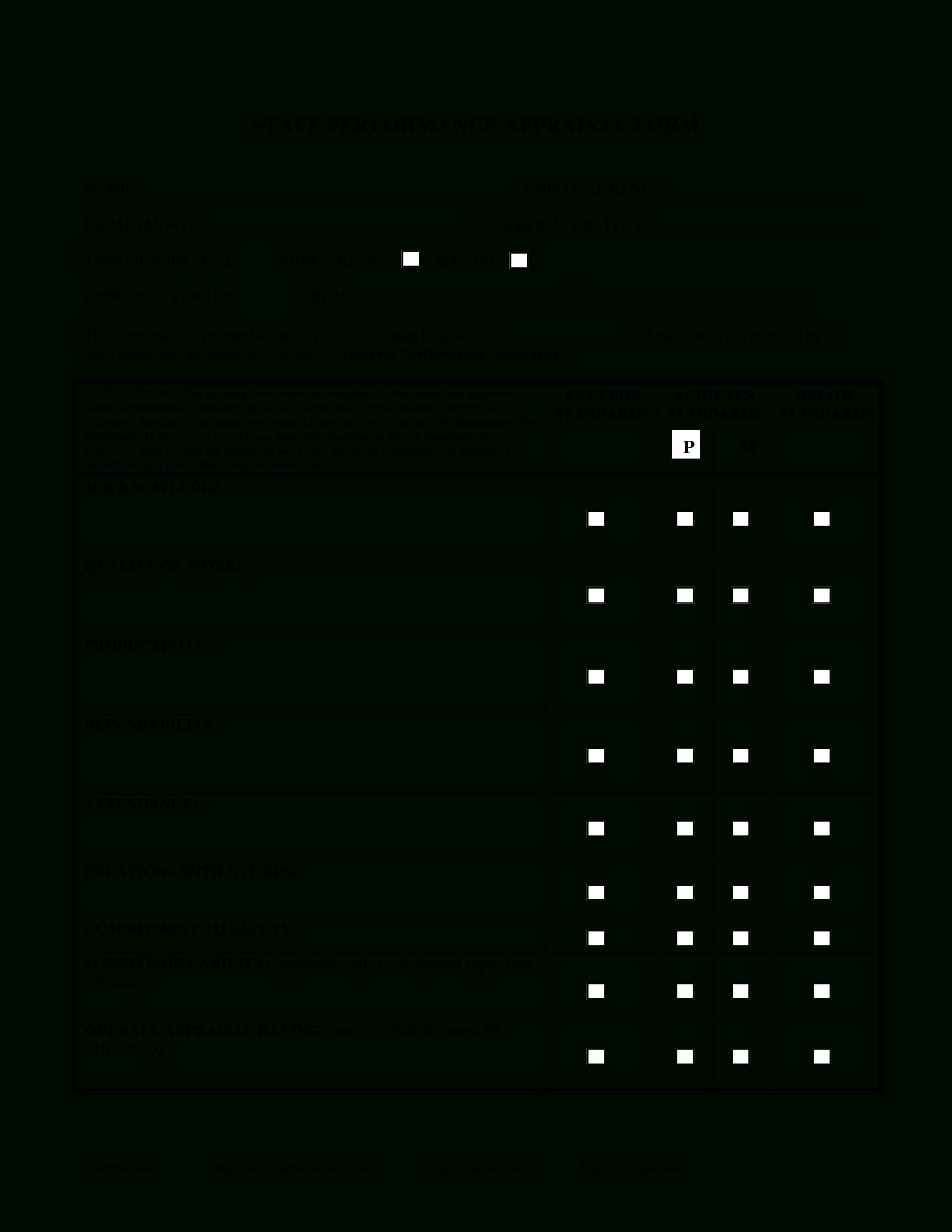 Staff Performance Appraisal Form | Templates At Regarding Staff Progress Report Template