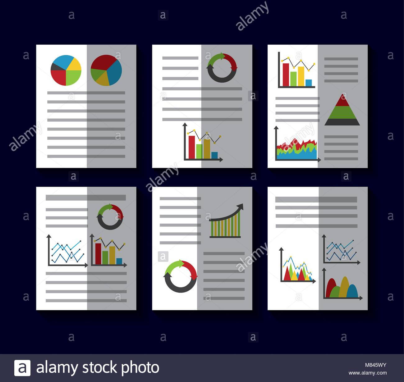 Statistics Data Business Report Template Style Charts And Within Illustrator Report Templates