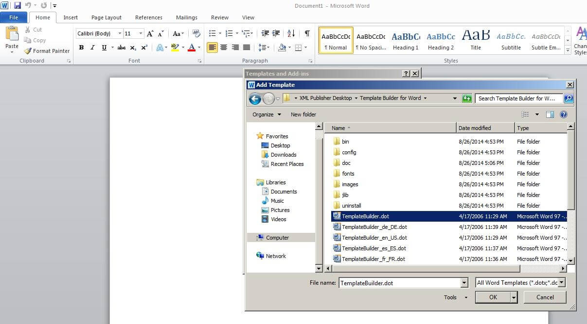 Steps To Enable Bi Publisher Add In Menu In Microsoft Office Regarding Word 2010 Templates And Add Ins