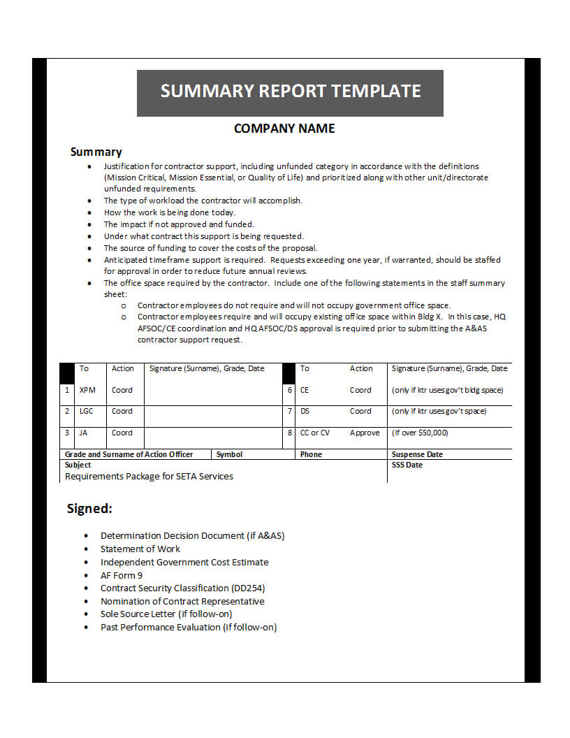 Summary Report Template With Evaluation Summary Report Template