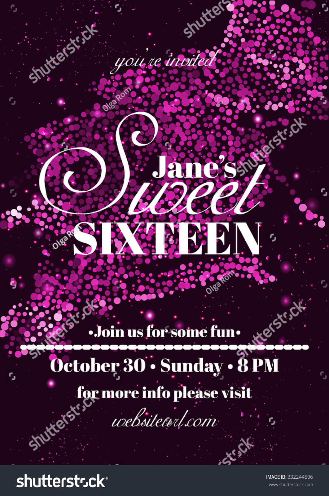 Sweet Sixteen Glitter Party Invitation Flyer Stock Vector For Sweet 16 Banner Template
