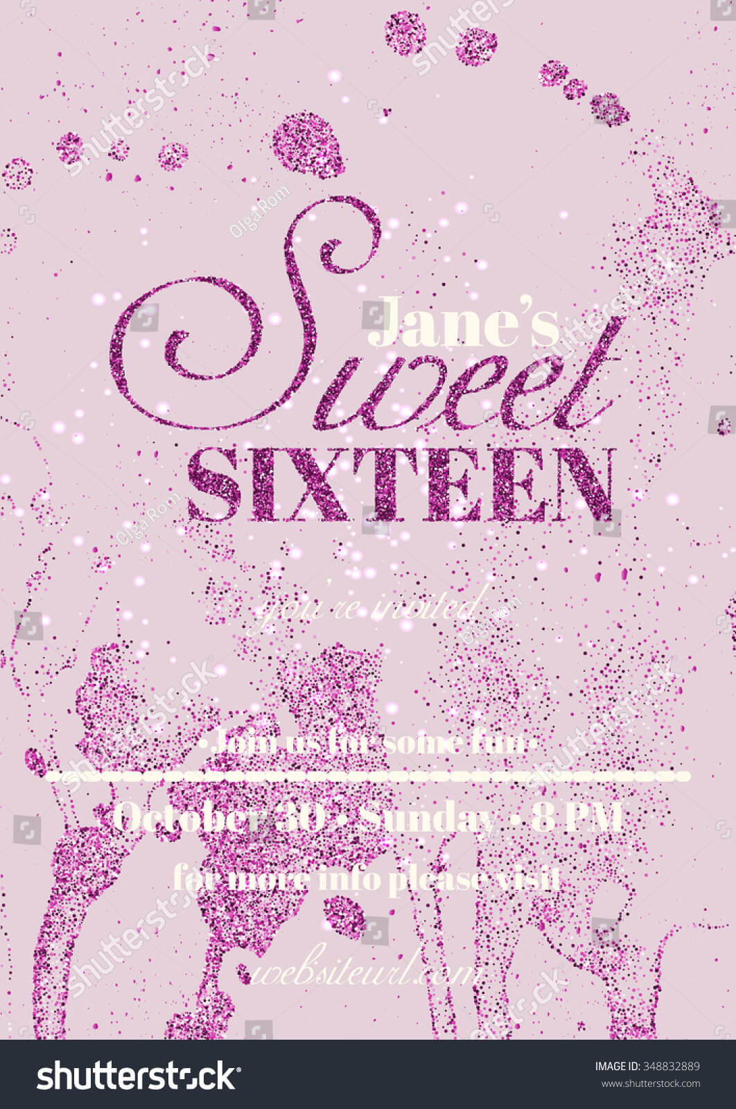 Sweet Sixteen Glitter Party Invitation Flyer Stock Vector With Regard To Sweet 16 Banner Template