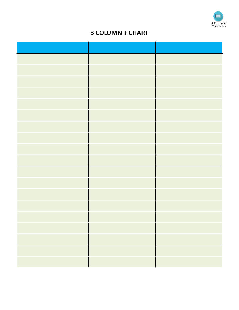 T Chart With 3 Columns | Templates At Allbusinesstemplates With Regard To 3 Column Word Template