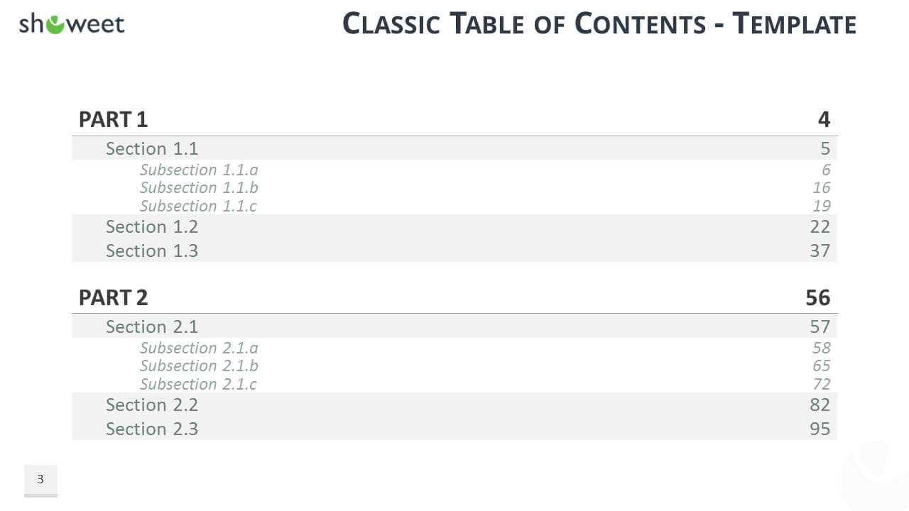 Table Of Content Templates For Powerpoint And Keynote Intended For Microsoft Word Table Of Contents Template