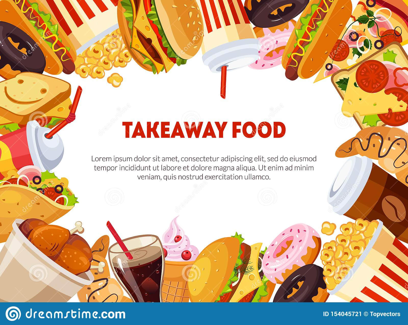 Takeaway Food Banner Template With Delicious Fast Food Intended For Food Banner Template