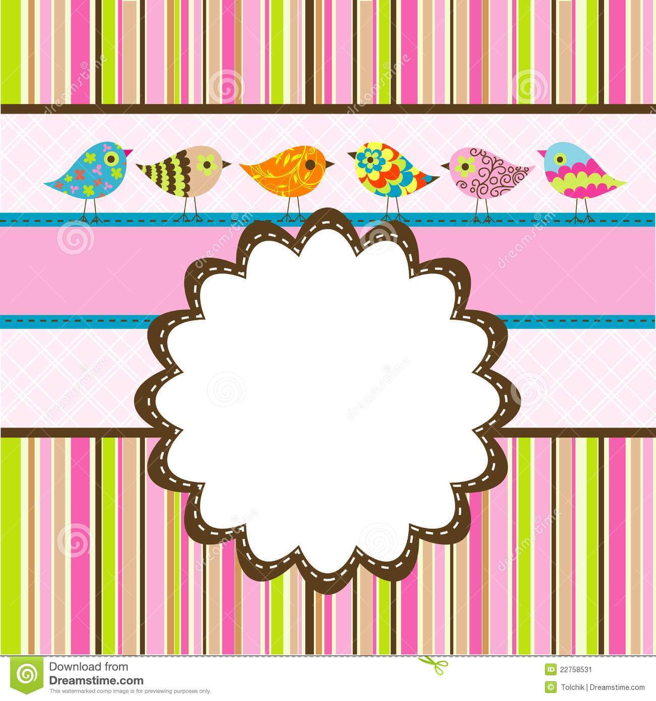 Template Birthday Greeting Card Stock Vector - Illustration Throughout Free Printable Blank Greeting Card Templates