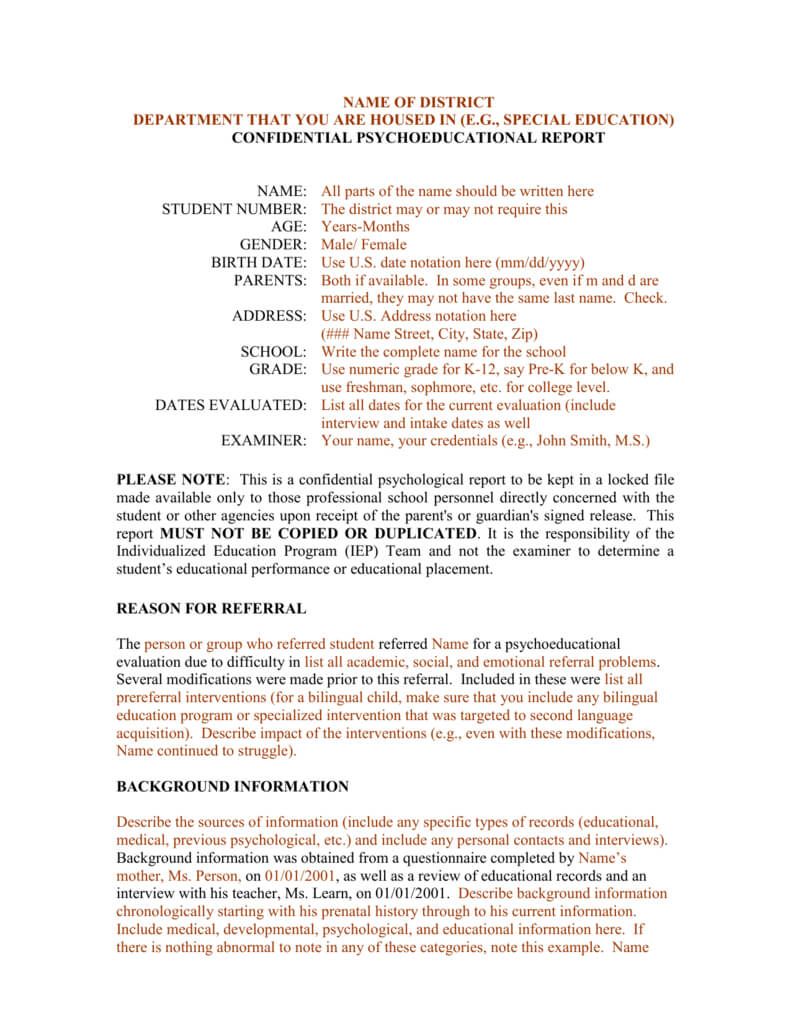 Template For A Bilingual Psychoeducational Report For School Psychologist Report Template
