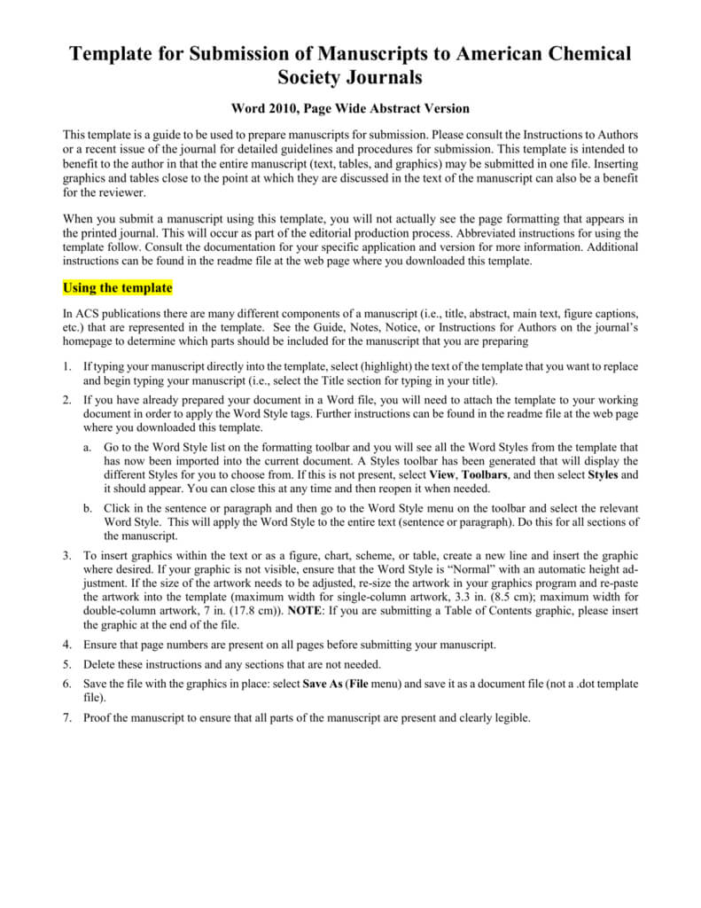 Template For Electronic Submission To Acs Journals With Scientific Paper Template Word 2010