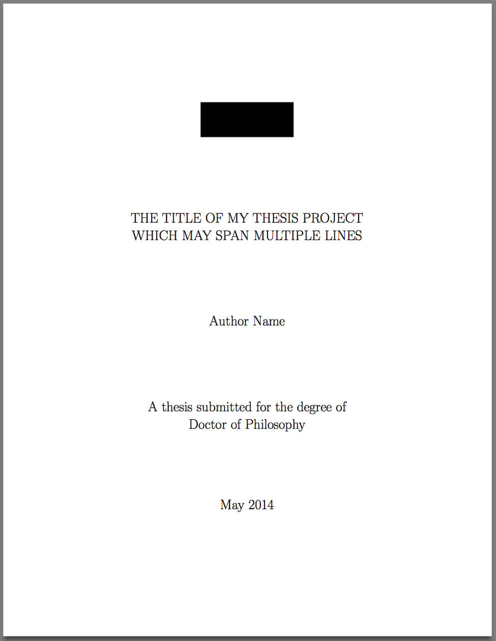 Template For Latex Phd Thesis Title Page – Texblog Pertaining To Latex Template For Report