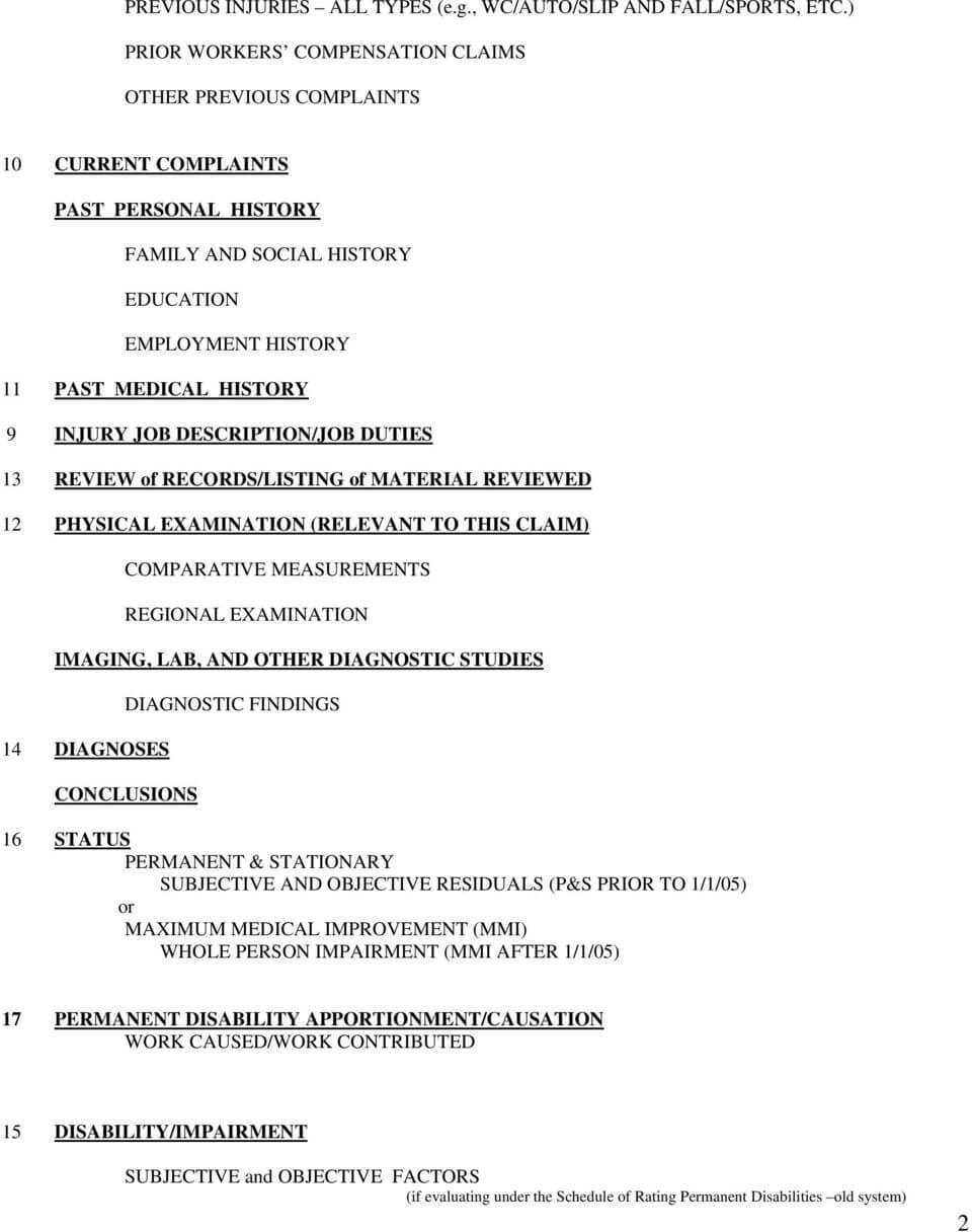 Template Medical Legal Report  Workers Compensation - Pdf With Regard To Medical Legal Report Template