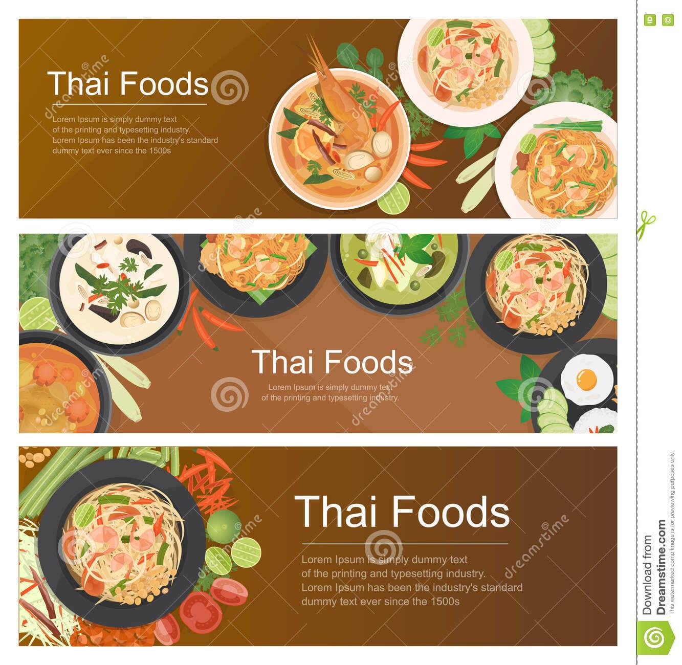 Thai Food Banner Template Stock Vector. Illustration Of Inside Food Banner Template