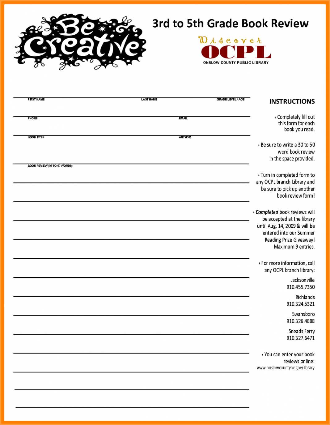 Third Grade Book Report Form 3Rd Fiction 5Th E 132378 Es With Regard To Book Report Template 5Th Grade