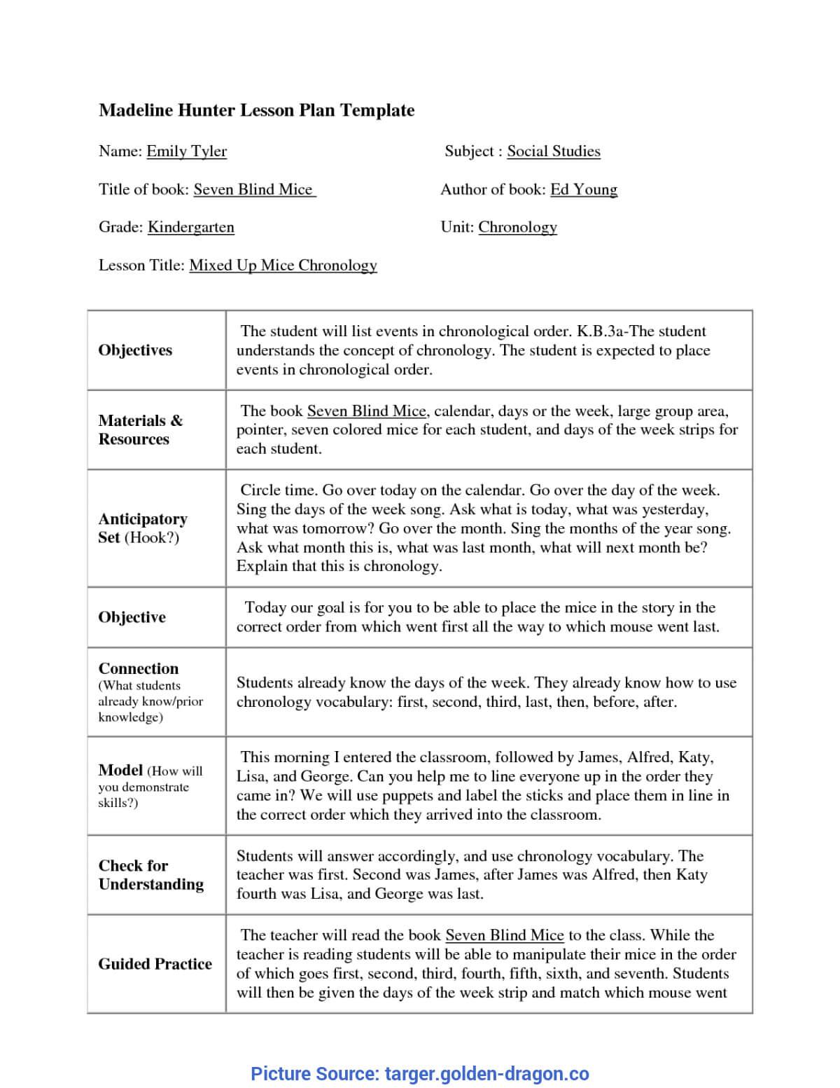Top Madeline Hunter Lesson Plan Kindergarten Madeline Hunter For Madeline Hunter Lesson Plan Blank Template