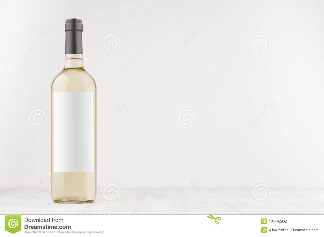 Transparent White Wine Bottle With Blank White Label On In Blank Wine Label Template