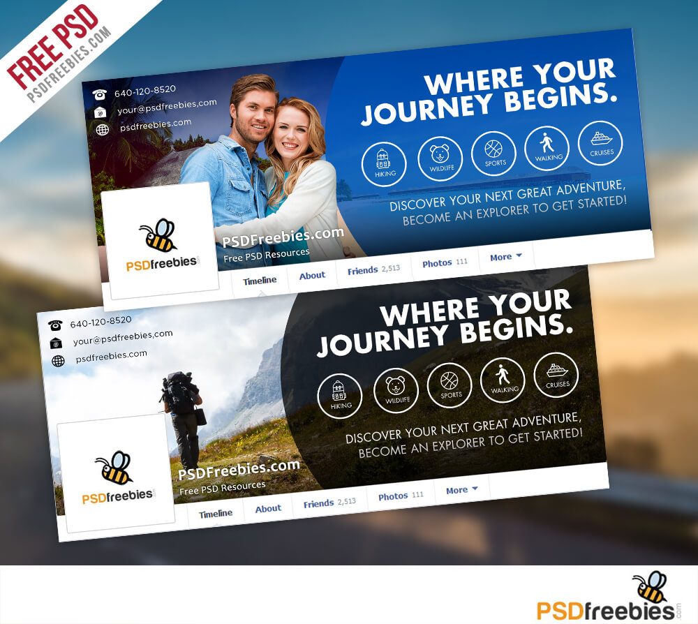 Travel Facebook Timeline Covers Free Psd Templates Inside Facebook Banner Template Psd