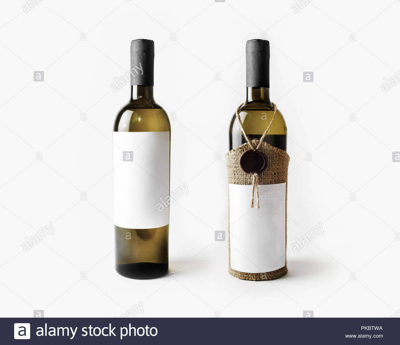 Two Wine Bottles With Blank Labels. Template For Placing For Blank Wine Label Template