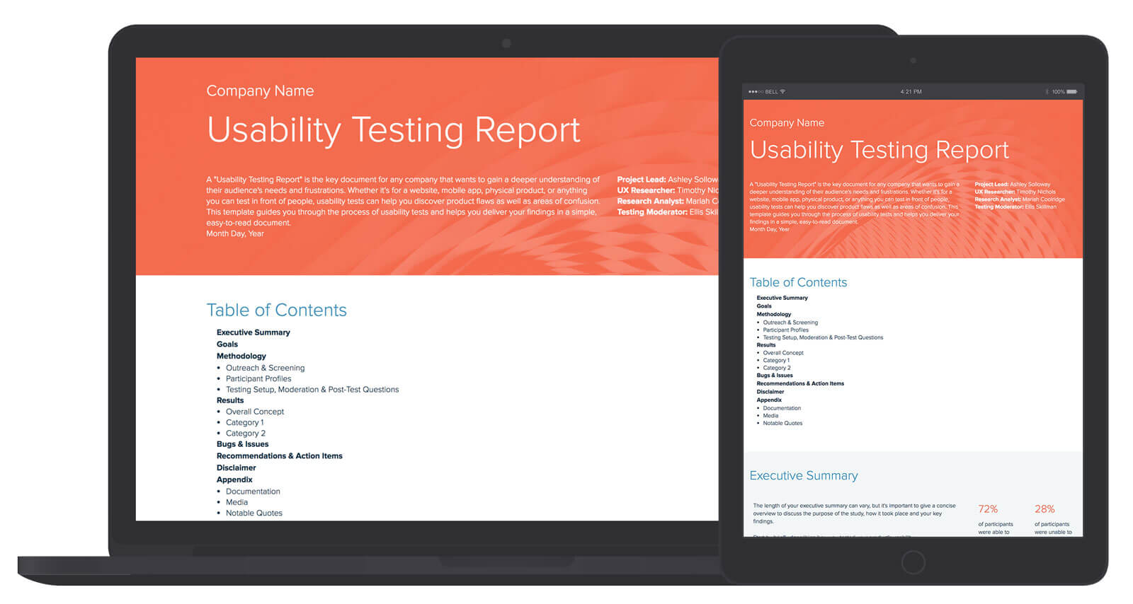 Usability Testing Report Template And Examples | Xtensio Inside Test Summary Report Excel Template