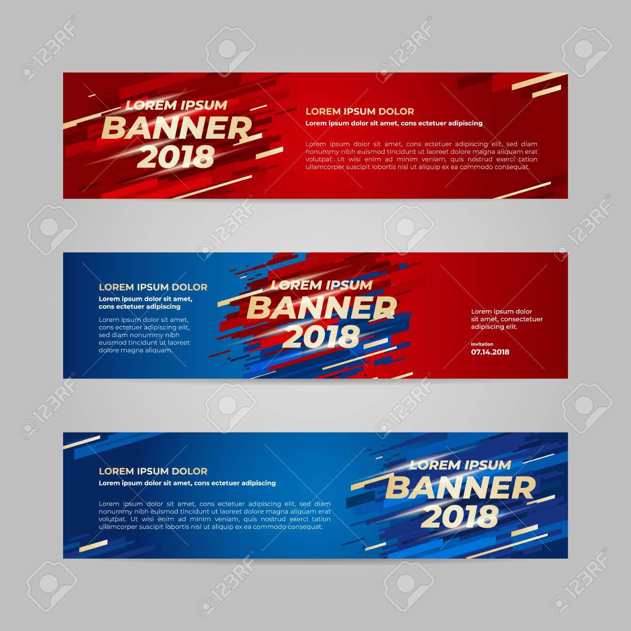 Vector Design Banner Web Template For Sport Event, 2018 Trend For Event Banner Template