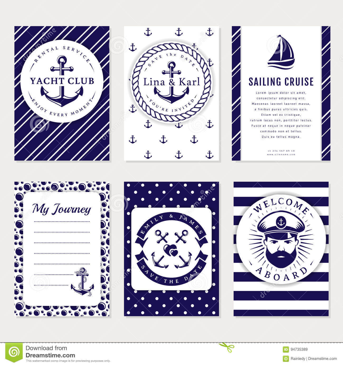 Vector Sea And Nautical Card And Banners. Stock Vector Intended For Nautical Banner Template