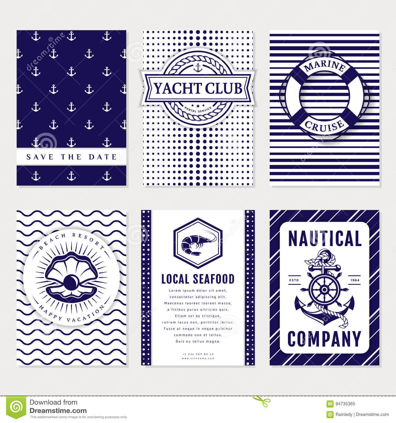 Vector Sea And Nautical Card And Banners. Stock Vector With Regard To Nautical Banner Template