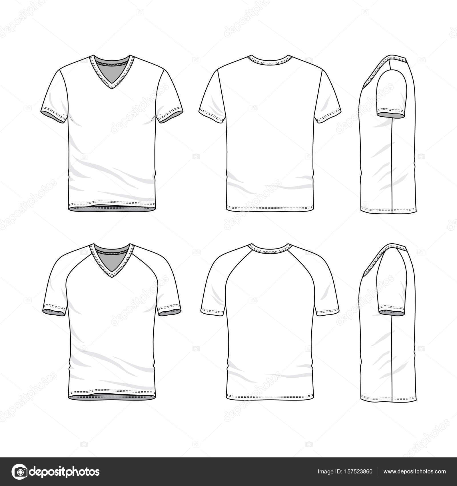 Vector Templates Of Blank T Shirt — Stock Vector Intended For Blank V Neck T Shirt Template