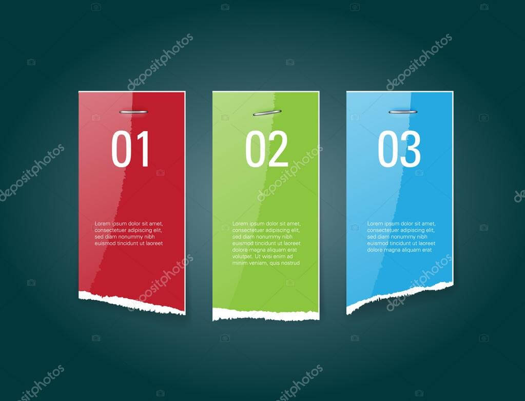 Vector Torn Glossy Paper Banners With Staples — Stock Vector Inside Staples Banner Template