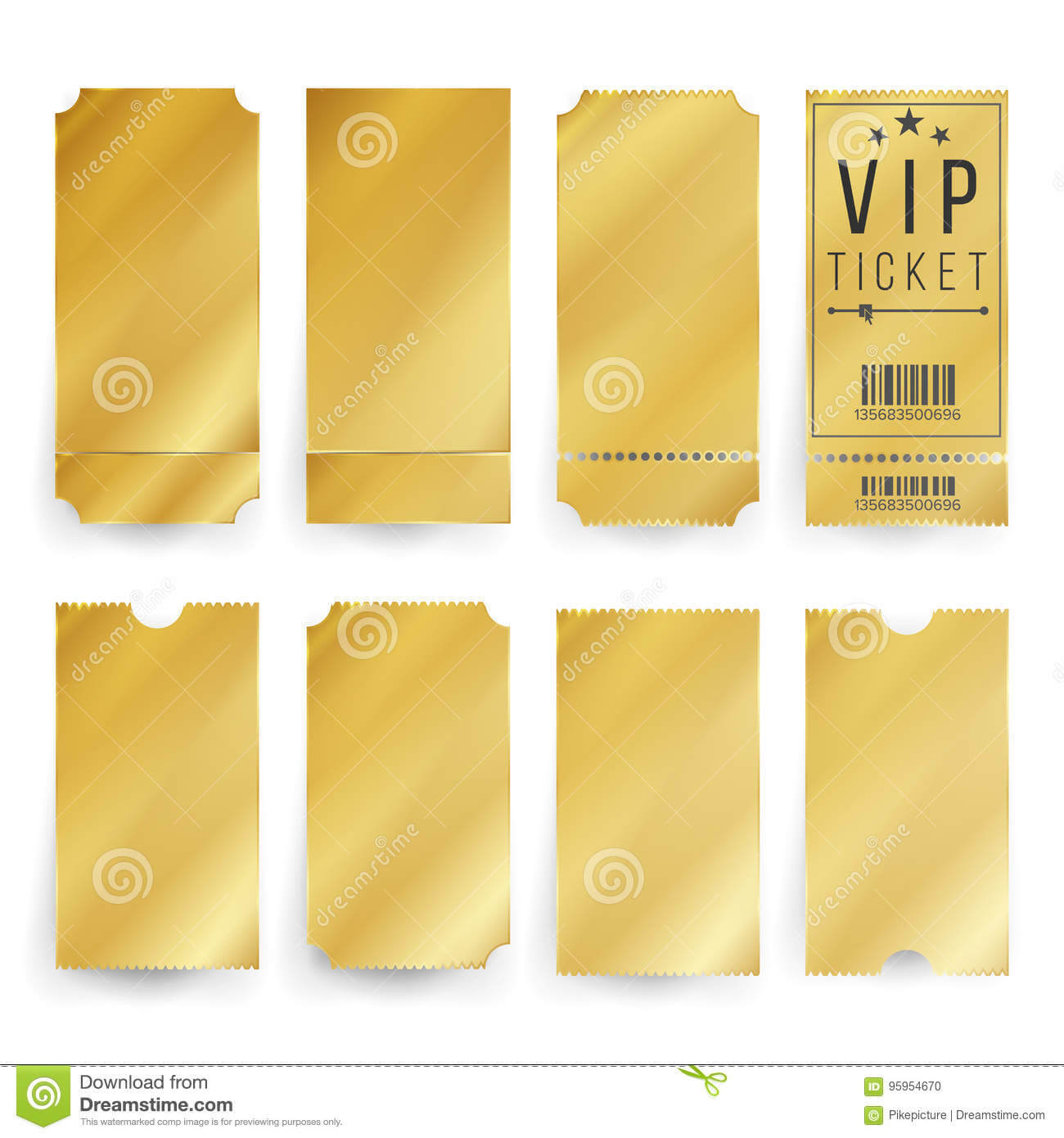Vip Ticket Template Vector. Empty Golden Tickets And Coupons For Blank Train Ticket Template