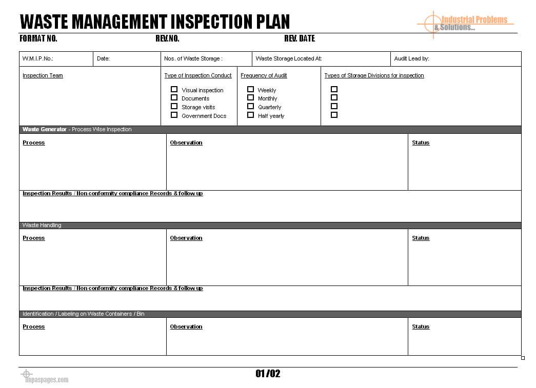 Waste Management Inspection Plan - Inside Waste Management Report Template