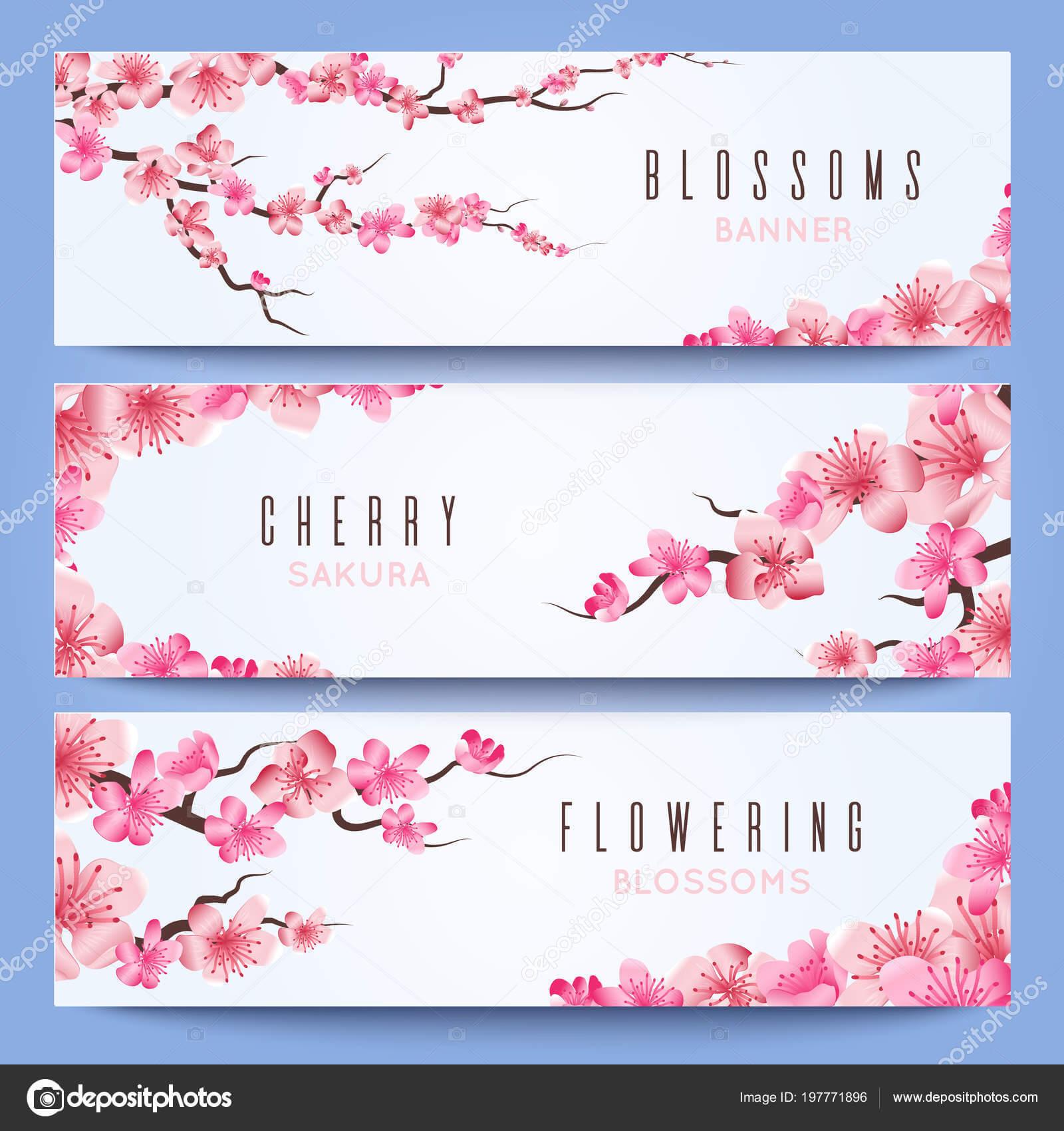 Wedding Banners Template With Spring Japan Sakura, Cherry In Wedding Banner Design Templates