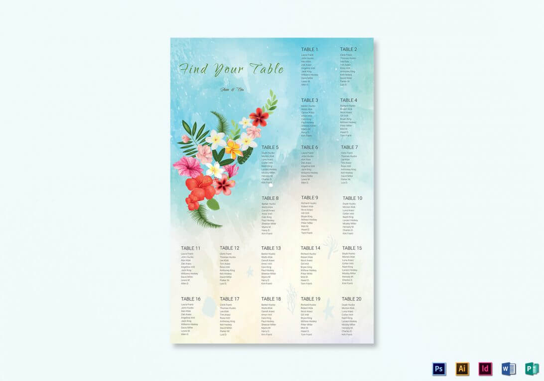 Wedding Seating Chart Template Beach Printable Free In Wedding Seating Chart Template Word